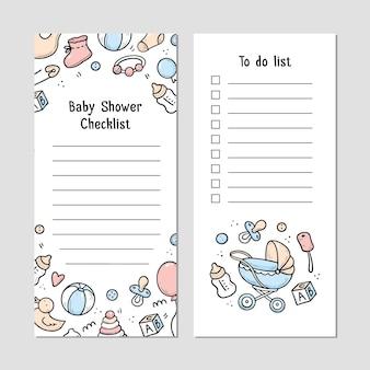 Tienda de bebés plantilla de lista de verificación con elementos de doodle de cosas de bebé, cosas, juguetes, sonajeros, botes de leche, ropa. estilo de dibujo doodle.