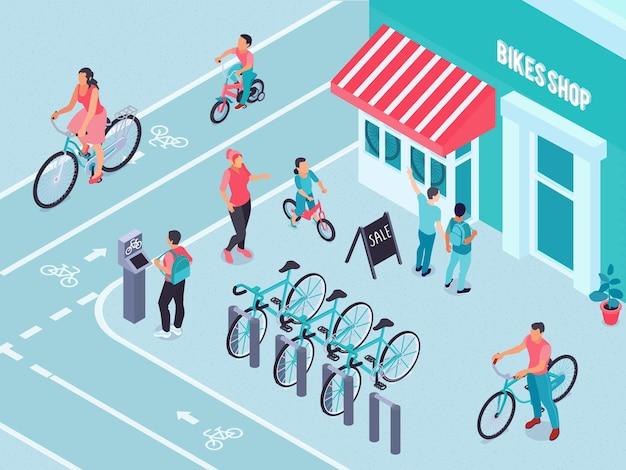 Tienda de bicicletas isométrica con estacionamiento de bicicletas al aire libre.