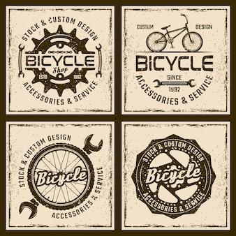 Tienda de bicicletas y servicio vintage emblemas o impresiones sobre fondo grunge
