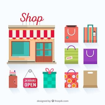 Tienda y bolsas de compras