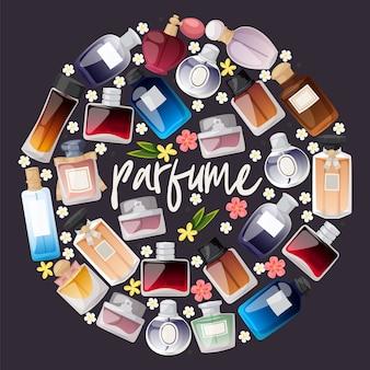 Tienda de botellas de perfume composición. diseño plano. diferentes formas y colores de botellas para hombre y mujer.