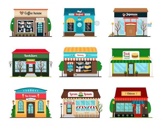 Tienda y cafetería colorida colección de escaparate. librería, cafetería y restaurante de comida oriental.