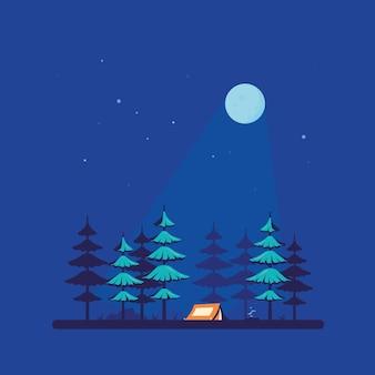 Tienda de campaña en el bosque, diseño de estilo plano.