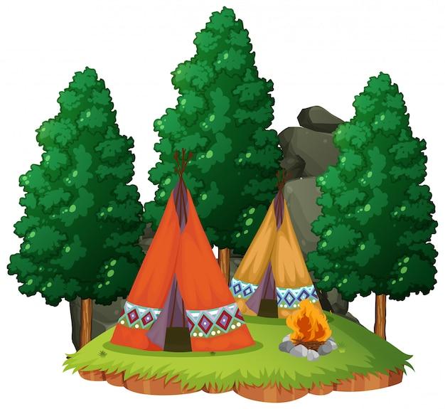 Tienda de campaña en el bosque sobre fondo blanco.