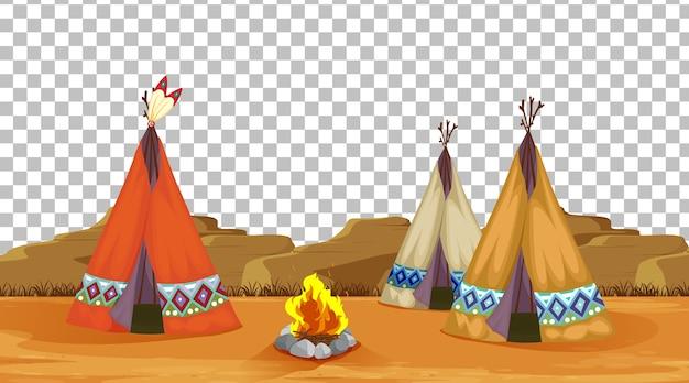 Tienda de campaña y campamento de fuego.