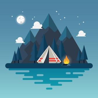 Tienda de campaña con paisaje por la noche.