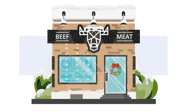 Tienda de carne fresca con guirnalda de navidad y guirnaldas y nieve aislado en blanco.