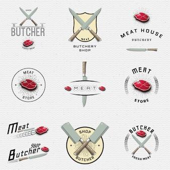 Tienda de carnes con insignias y etiquetas para cualquier uso.