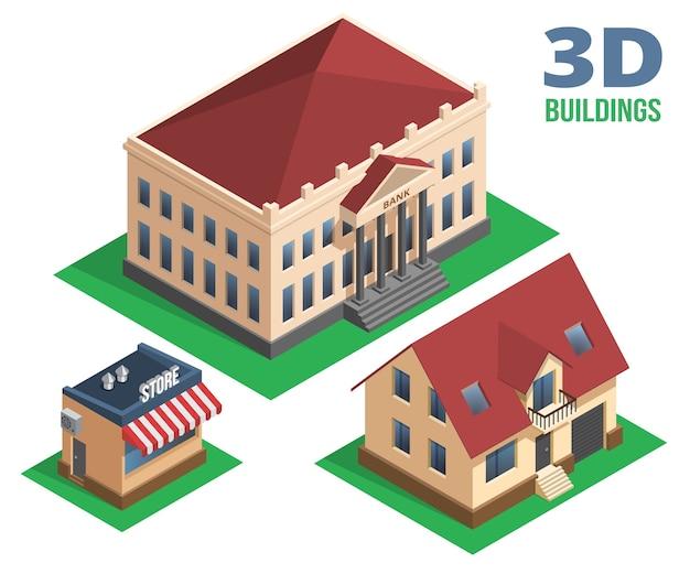 Tienda de casa isométrica y ilustración de edificio sobre fondo blanco.