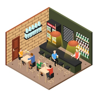 Tienda de cerveza isométrica