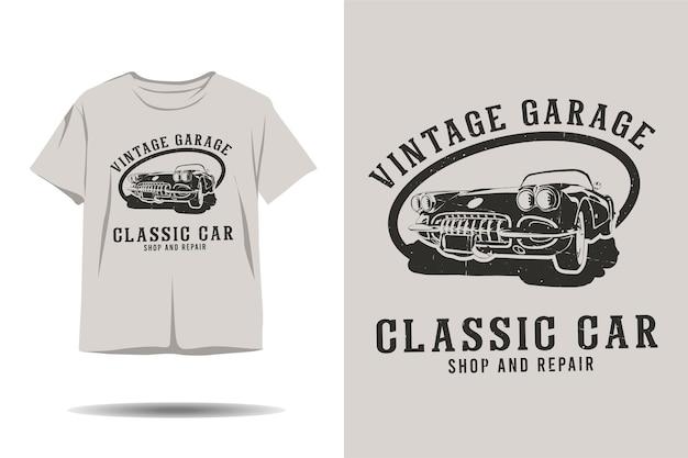 Tienda de coches clásicos de garaje vintage y diseño de camiseta de silueta de reparación