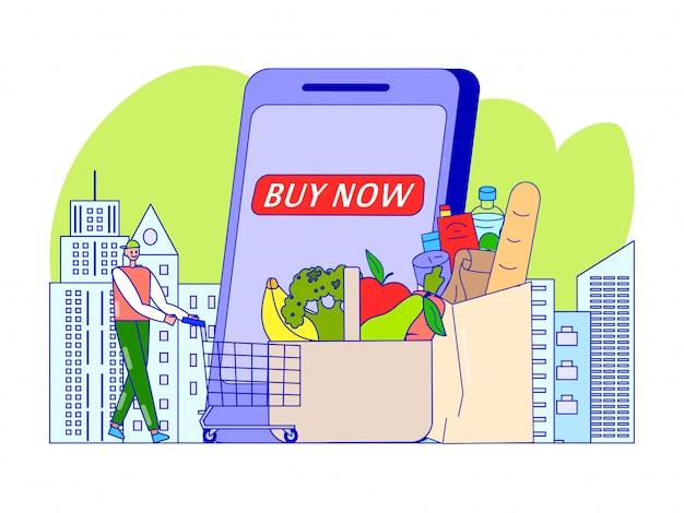 Tienda de comestibles en la aplicación móvil, ilustración. realice la compra en la tienda en línea, cliente con carro cerca del teléfono inteligente