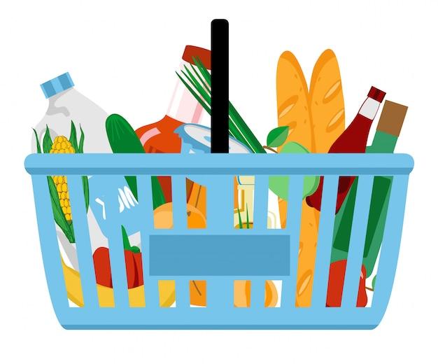 Tienda de comestibles en una cesta de la compra. ilustración. .