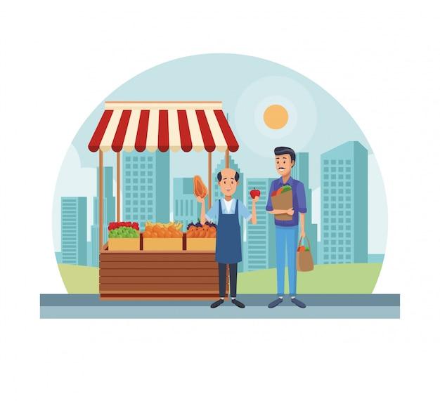 Tienda de comestibles en la ciudad