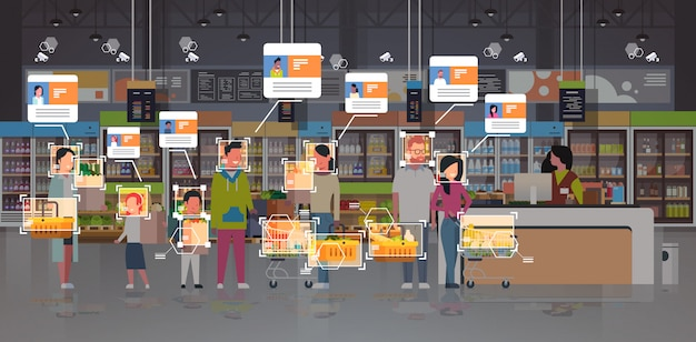 Tienda de comestibles clientes identificación vigilancia cctv reconocimiento facial mezcla raza personas línea permanente cola en caja de efectivo supermercado moderno sistema de cámara de seguridad interior
