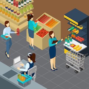 Tienda de comestibles isométrica