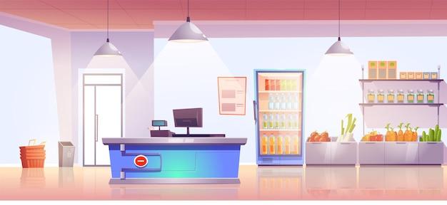 Tienda de comestibles con mostrador de caja y producción en estantes y bebidas frías en el refrigerador