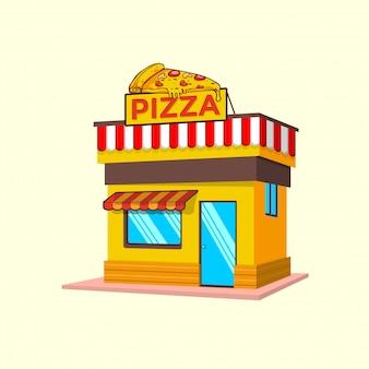 Tienda de comida rápida con ilustración de imágenes prediseñadas de pizza. concepto de imágenes prediseñadas de comida rápida aislado. vector de estilo de dibujos animados plana