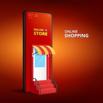 Tienda de compras en línea con aplicación móvil. fondo de banner de marketing y venta digital.