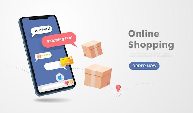 Tienda de compras en línea en el diseño de sitios web y teléfonos móviles. concepto de marketing empresarial inteligente. vista horizontal. ilustración de vector.
