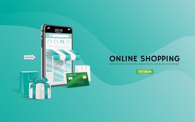 Tienda de compras en línea con móvil, tarjetas de crédito.