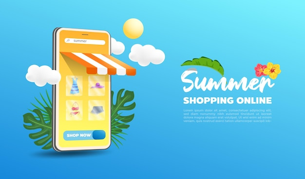 Tienda de compras online de verano en diseño de sitios web y teléfonos móviles.