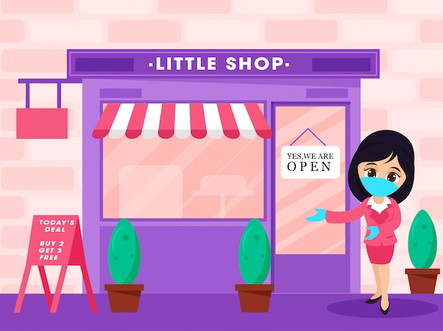 Tienda, concepto de reapertura de tiendas después de la pandemia.