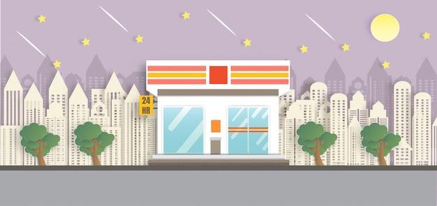 Tienda de conveniencia abierta en la noche en estilo de corte de papel