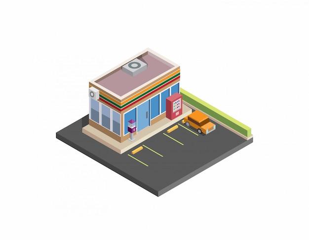 Tienda de conveniencia isométrica, tienda, 24 horas, diseño isométrico