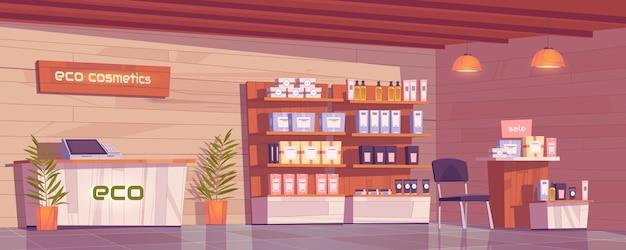 Tienda de cosmética ecológica con productos naturales para maquillaje, cuidado de la piel y perfumes en vitrina.