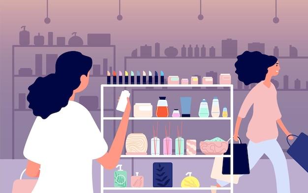 Tienda de cosméticos. cuidado de la piel ecológico, maquillaje de productos naturales.