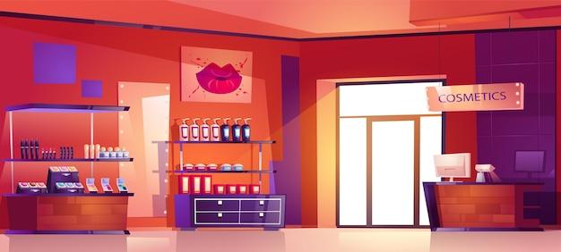 Tienda de cosméticos con productos de maquillaje, cuidado de la piel y perfumes en los estantes. interior de dibujos animados de la tienda de belleza con caja en el mostrador, vitrinas con botellas de loción, productos para el cuidado de la piel y lápices labiales