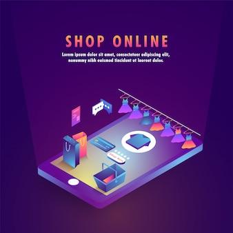 Tienda de compras isométrica en un teléfono inteligente.