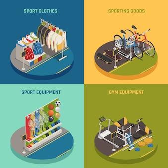 Tienda deportiva isométrica con inventario de juegos de ropa, bicicletas y patinetas, equipo de gimnasia