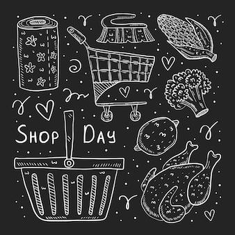 Tienda día dibujado a mano doodle ilustración. dibujos de tiza aislados sobre fondo oscuro. carro, pollo, brócoli, maíz, pan, paquete, bolsa, canasta, papel.