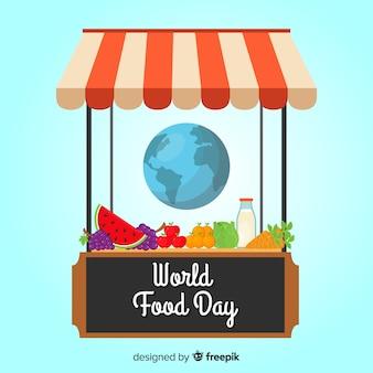 Tienda del día mundial de la comida con productos
