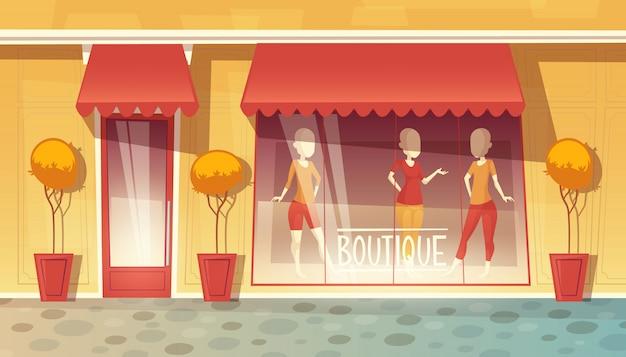 Tienda de dibujos animados de escaparate de boutique, mercado de ropa. centro comercial con arboles en jarrones.