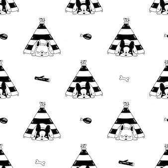 Tienda de dibujos animados de perro bulldog francés de patrones sin fisuras