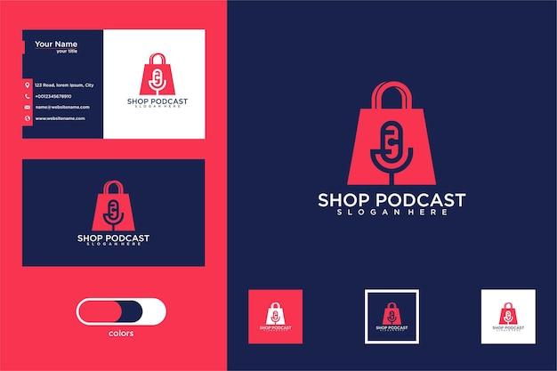 Tienda de diseño de logotipo de podcast y tarjeta de visita.