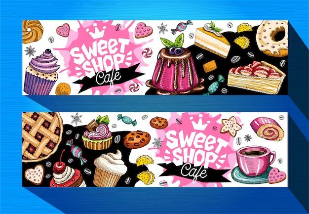 Tienda de dulces cafe banners plantilla. etiquetas de dulces coloridos, emblema. rotulación, diseño, pastelería, croissant, dulces, galletas, colorido, salpicaduras, café, garabato, delicioso.