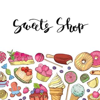 Tienda de dulces coloreados dibujados a mano o confitería.