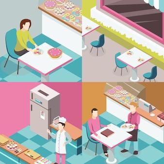Tienda de dulces concepto de diseño isométrico