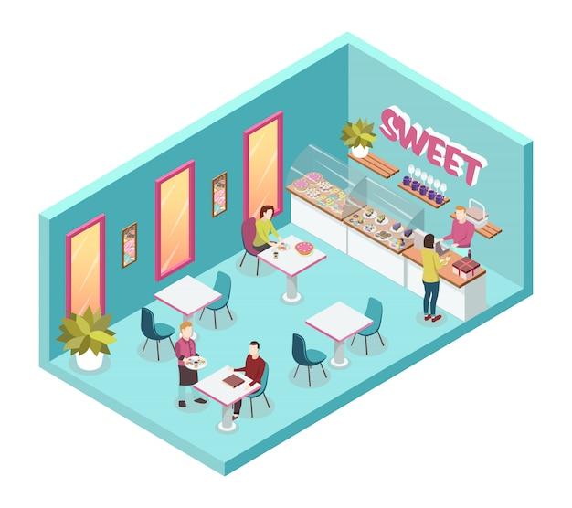 Tienda de dulces en el interior con camareros y consumidores.