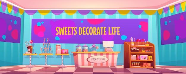 Tienda de dulces interior vacío con varios pasteles