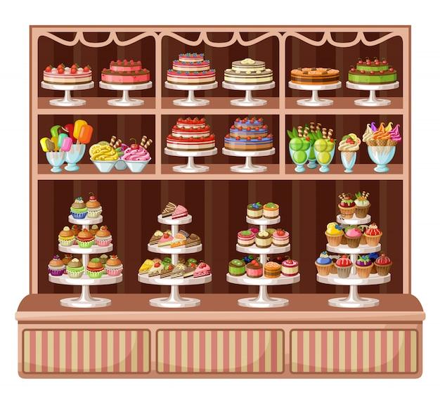 Tienda de dulces y panaderia. ilustración vectorial
