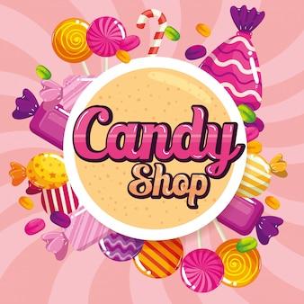 Tienda de dulces con pancarta de caramelos