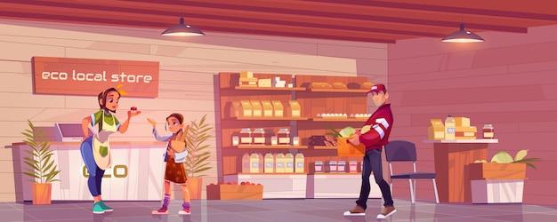 Tienda ecológica local con cliente, vendedora y portero.