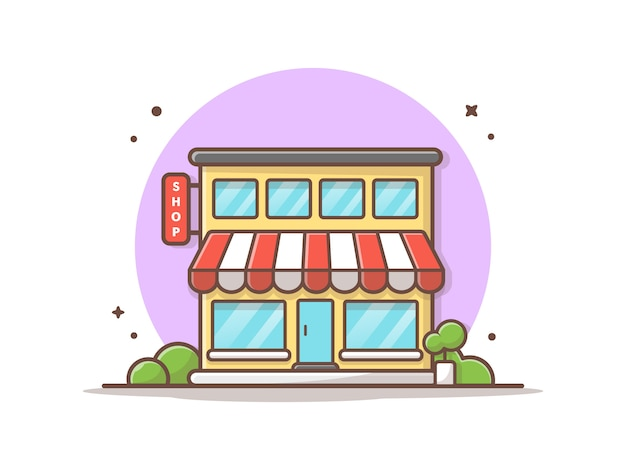 Tienda edificio vector icono ilustración. concepto de icono de edificio y punto de referencia