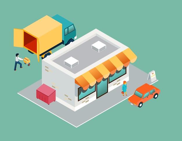 Tienda y entrega vista lateral superior 3d isométrica. venta y compra, servicio comercial, logística de procesos, soporte al comprador.