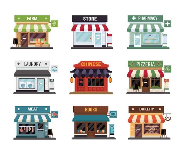 Tienda de estilo plano pequeño conjunto de iconos diminutos. panadería, tienda, farmacia, carnicería